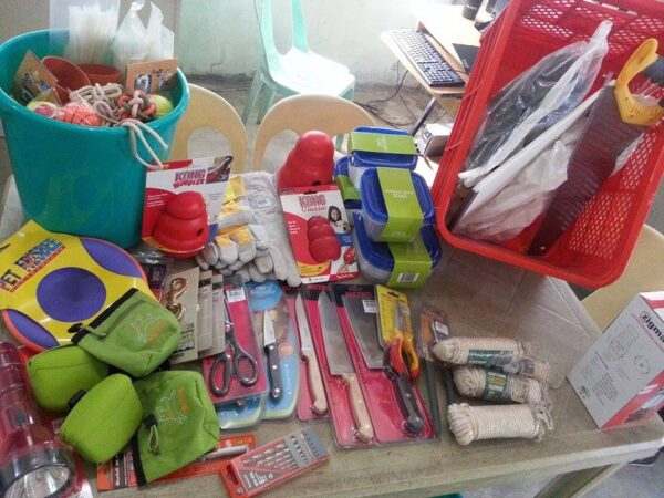 Various items purchased and donated