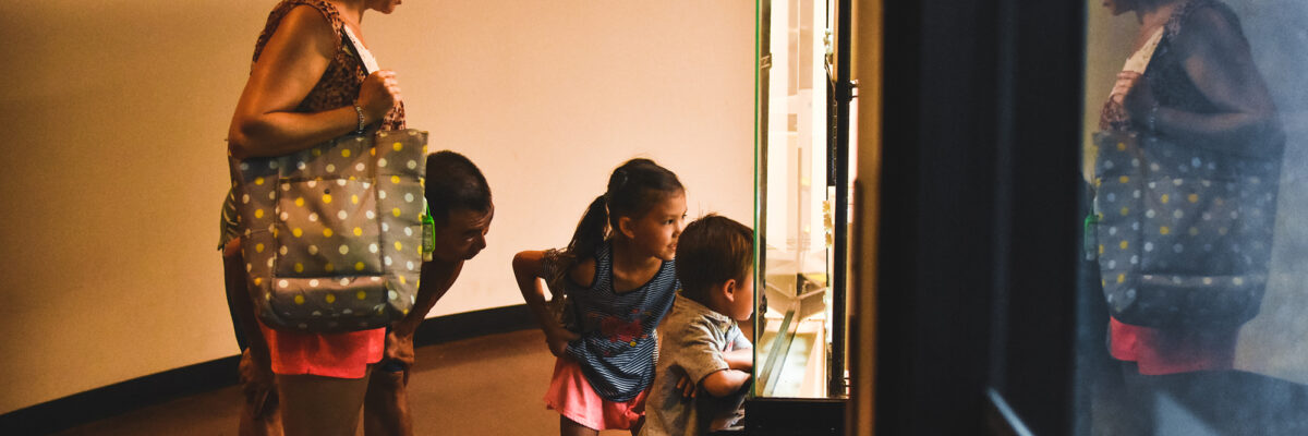 mother, father, daughter and son peer into exhibit