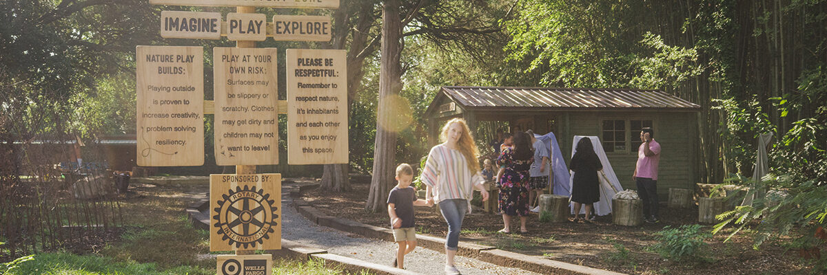 Families enjoy the Run Wild Nature Discovery Zone at the Virginia Zoo